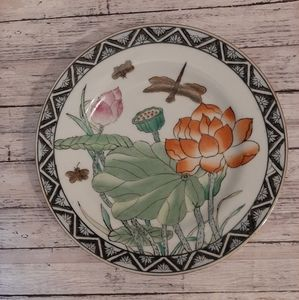 Toyo China Hand Painted Plate Lotus And Dragonfly